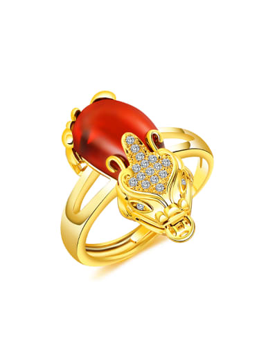 24K Gold Plated Red Carnelian Personalized Ring