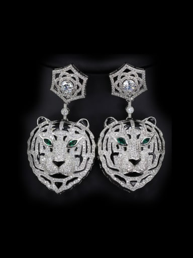 Exquisite Tiger Head Shaped drop earring