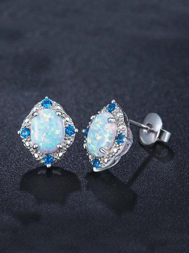 Blue Opal Stone stud Earring
