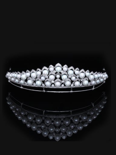 Artificial Pearls Micro Pave Zircons White Plated Hair Accessories