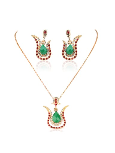 Bohemia Ethnic style Green Water Drop Resin stones Cubic Crystals Alloy Two Pieces Jewelry Set