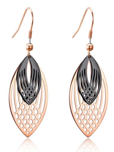 Stainless Steel With Rose Gold Plated Fashion Leaf Double hollowing out Earrings