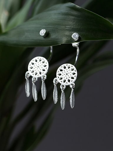 Vintage Round Shaped S925 Silver Drop Earrings