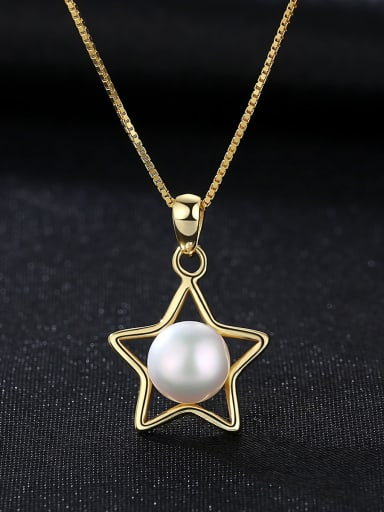 Sterling Silver Pentagram Jewelry 7- 7.5mm Natural Pearl Necklace