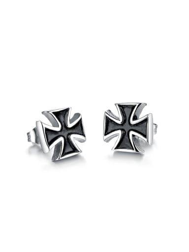 Tiny Black Cross Titanium Stud Earrings