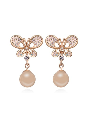 Fashion Champagne Gold Plated Imitation Pearl Butterfly Stud Earrings