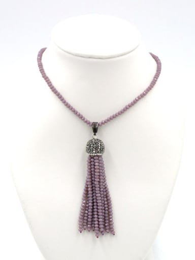 Simple Tassels Natural Crystal Beads Sweater Chain