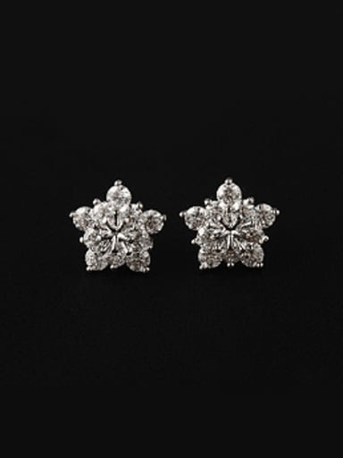 Fashion Flower Zircon Stud Earrings