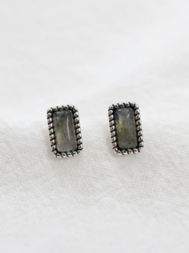 Simple Rectangular Grey stone Silver Stud Earrings