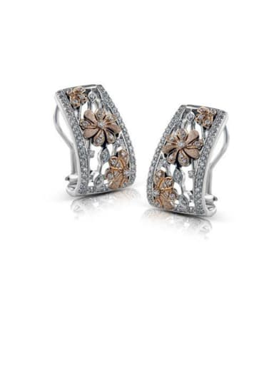 Copper With Platinum Plated Punk Flower Stud Earrings