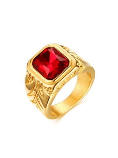 Fashionable Gold Plated Red Rhinestone Titanium Ring