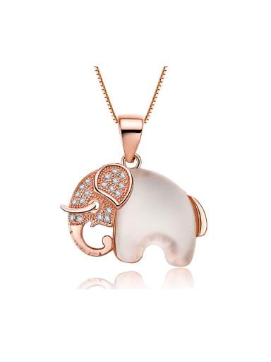 925 Silver Elephant Opal Stone Pendant