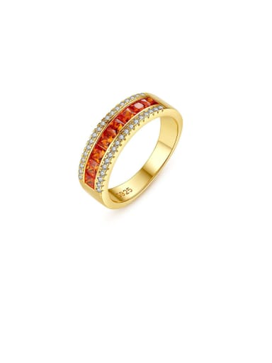 925 Sterling Silver With Gold Plated Simplistic Geometric Band Rings