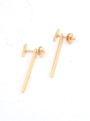 Titanium With Gold Plated Punk Fringe Drop Earrings
