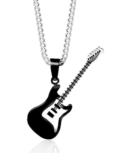 Guitar Pendant Necklace Mens Black Stainless Steel Pendant