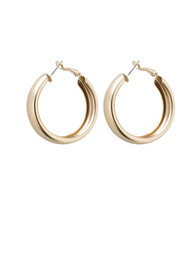 Alloy With Gold Plated Simplistic Round Hoop Earrings