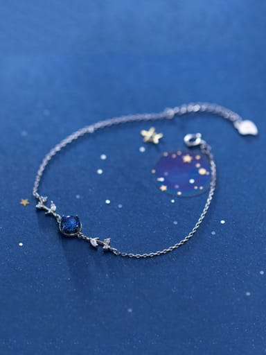 925 Sterling Silver With Platinum Plated Simplistic Round Sapphire Bracelets