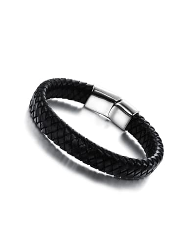 Simple Woven Artificial Leather Titanium Men Bracelet