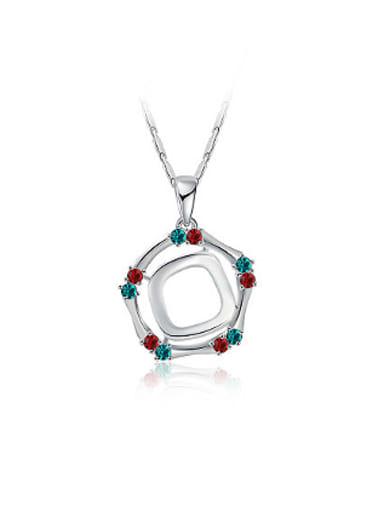 Fresh Colorful Geometric Shaped Rhinestones Necklace