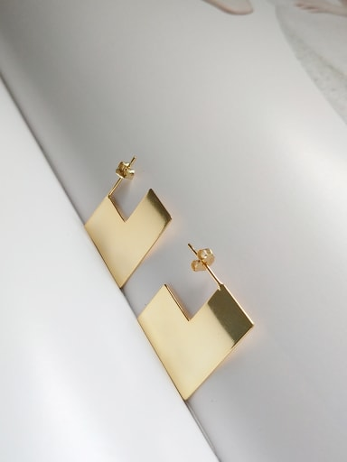 Sterling Silver geometric modeling gold plated earring