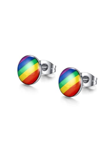 Fashion Colorful Design Round Shaped Titanium Stud Earrings