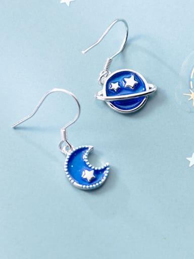 Sterling silver blue moon planet asymmetrical earrings