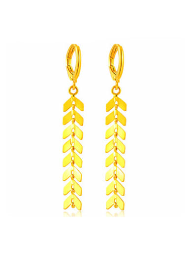 Personality Gold Plated Geometric Shaped Copper Drop Earrings