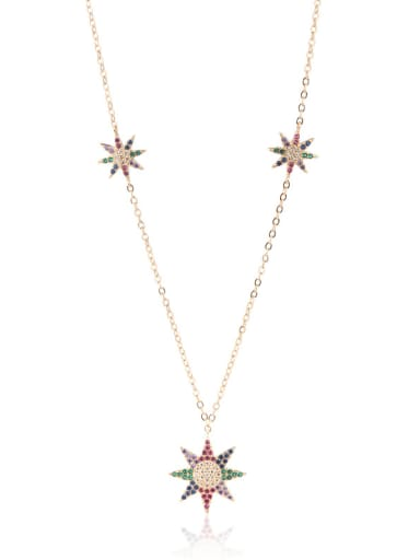 Copper With  Cubic Zirconia Sunflower Trendy Necklaces
