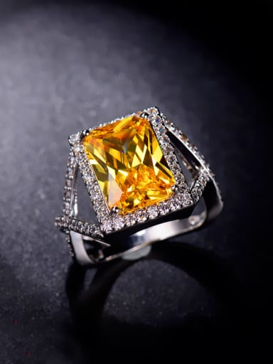 Yellow Rectangle Zircon Ring