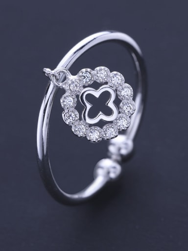 Fashion Little Four-leaf Clovers Cubic Zirconias 925 Silver Opening Ring