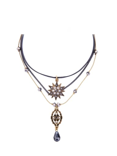 Retro Temperament Star Water Drop Alloy Multilayer Choker