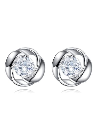 Fashion Tiny Cubic Zircon 925 Silver Stud Earrings