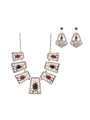 Personalized Vintage style Resin stones Hollow Geometrical Alloy Two Pieces Jewelry Set