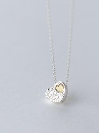 Temperament Double Color Design Heart Shaped Necklace