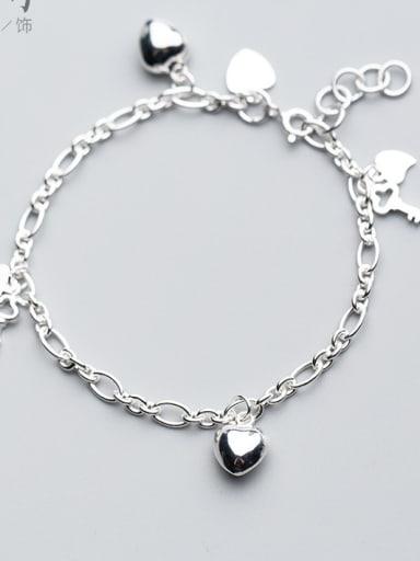 Heart Shaped Key DIY 925 Silver Bracelet