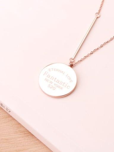 Rose Gold Titanium Discs Sweater Necklace