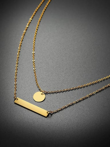 Stainless Steel With Minimalist Style Circular Rectangle Multi Strand Necklaces