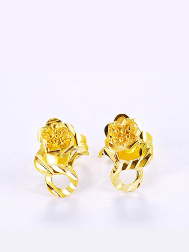Copper Alloy 24K Gold Plated Ethnic style Flower Stud clip on earring