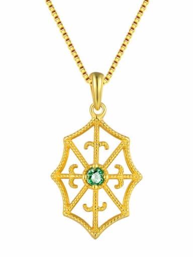 Retro Style Geometric Emerald Gold Plated Pendant