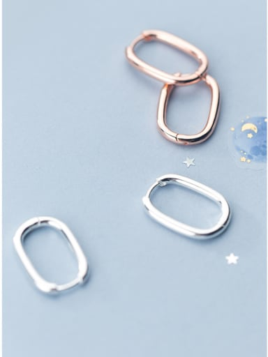 925 Sterling Silver With Silver Plated Simplistic Geometric Clip On Earrings