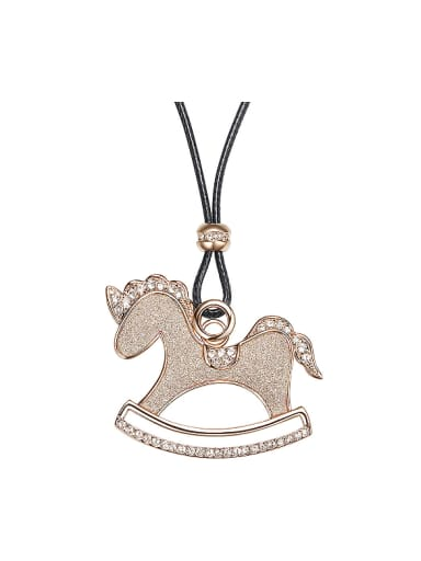 Fashion Wooden Horse Swarovski Crystals Leather Sweater Chain