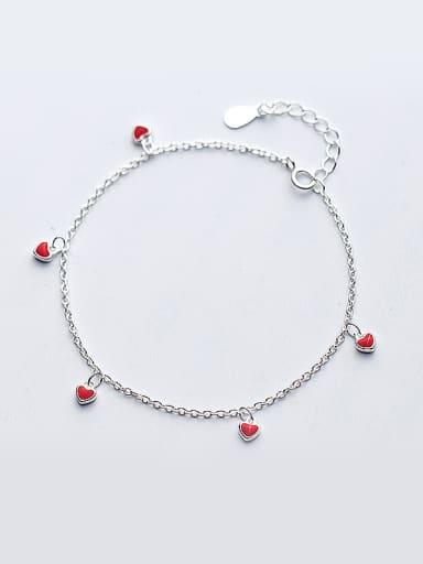 All-match Heart Shaped Glue S925 Silver Bracelet