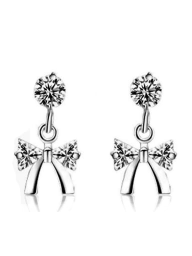 Bow Shaped Zircons Fashion Women Stud Earrings