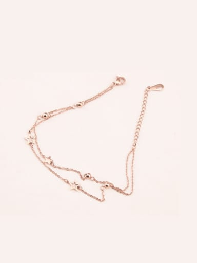 Korea Rose Gold Titanium Double Chain Anklet