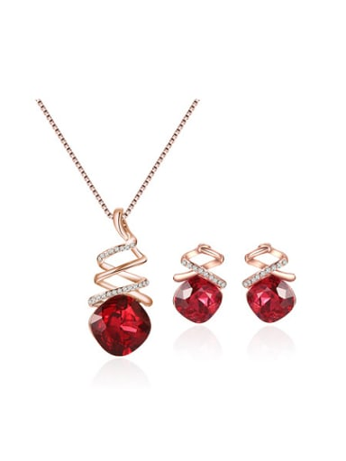 Alloy Rose Gold Plated Fashion Artificial Stones Two Pieces Jewelry Set