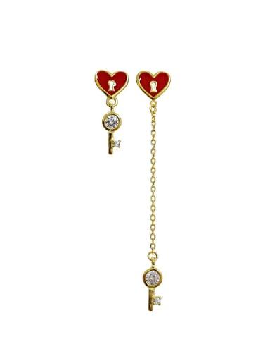 Personalized Love Lock Cubic Zircon Asymmetrical Stud Earrings