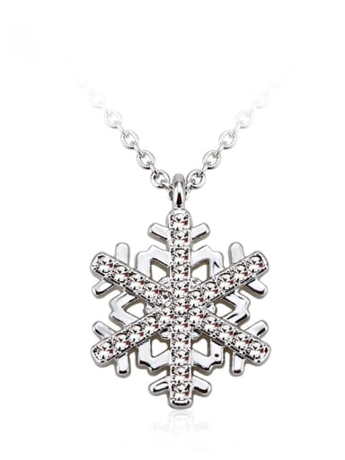 18K White Gold Snowflake Shaped Crystal Necklace