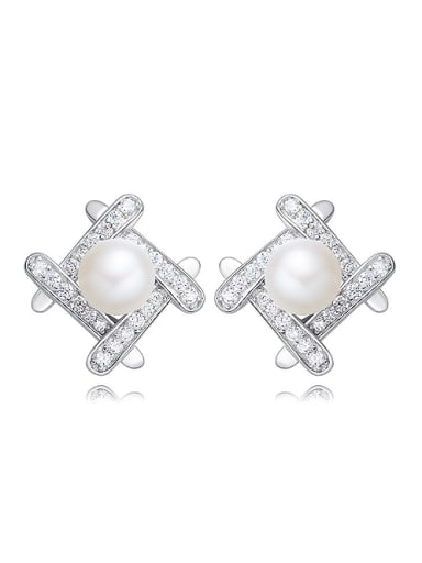 Tiny Fashion Artificial Pearl Cubic Zirconias 925 Silver Stud Earrings
