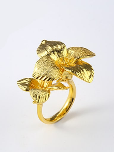 Exaggerated Retro Flowers Opening Ring