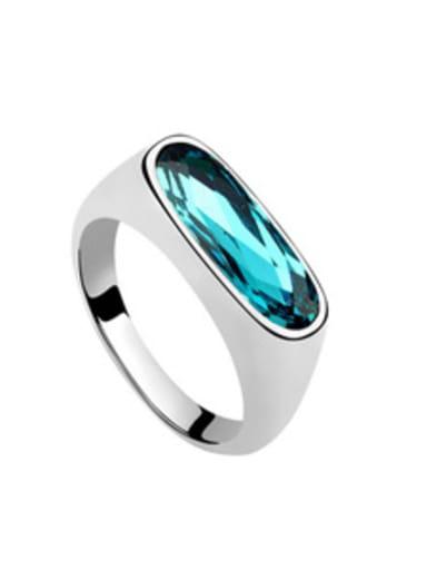 Simple Oval Swarovski Crystal Alloy Ring